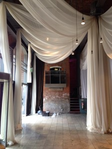 3m wide champagne voile with long tails