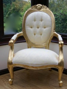 White and gold Louix armchair