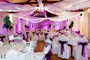 Full venue drape with fairy light curtain and fabric ceiling canopy