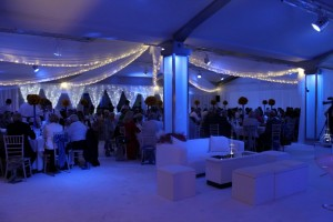 venue draping, with fairy lights at Ladywood Estate