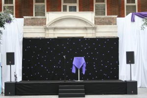 Star cloth to rear of stage