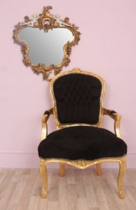 black and gold french chair