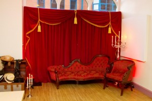 theatrical red velour backdrop