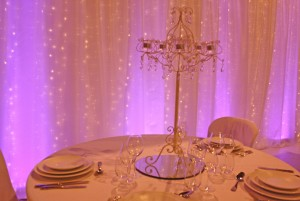 fairy light curtain with purple uplights