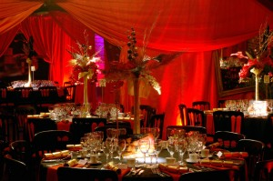 moulin rouge themed red draping