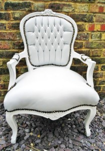 White leather french arm chair